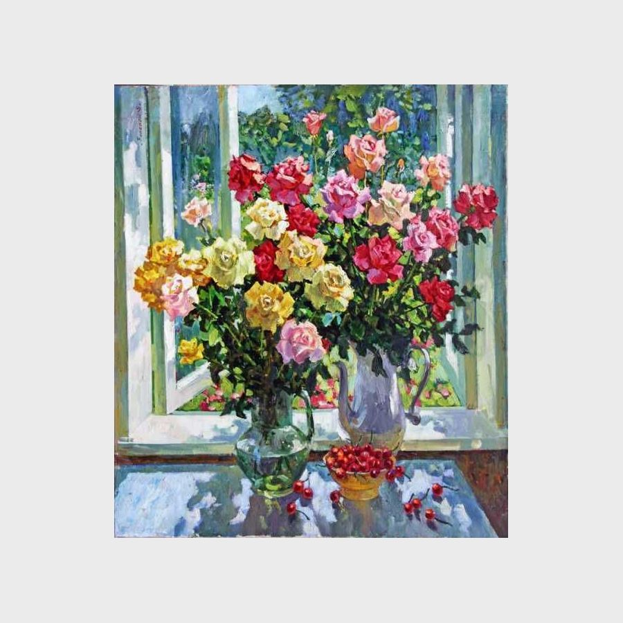 """Roses. Open window"""